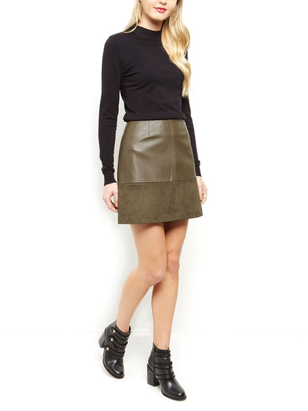 Look Suedette Trim A-Line Skirt