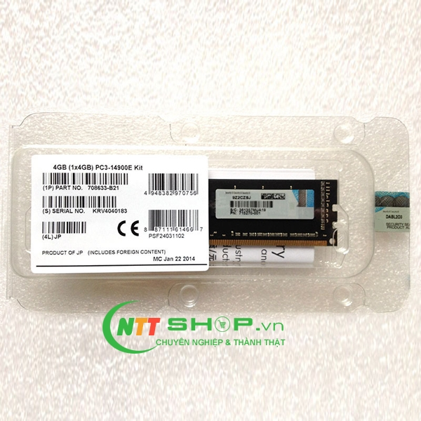 713977-B21 HP 4 GB Dual Rank x8 PC3L-12800E
