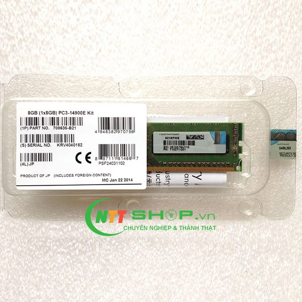 708635-B21 HP 8 GB Dual Rank x8 PC3-14900E