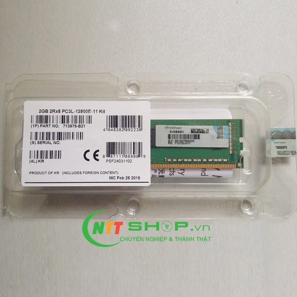 713975-B21 HP 2 GB Single Rank x8 PC3L-12800E