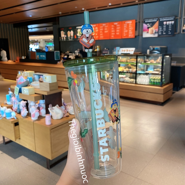 Starbucks Coffee Farmer Bear Double Layer Glass Straw Cup