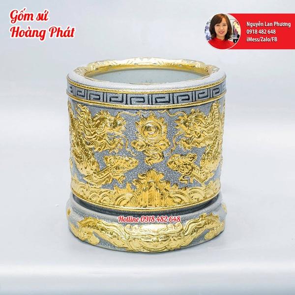 Bát hương Rồng dát vàng phi 18cm kèm chân đế dát vàng SP46184646