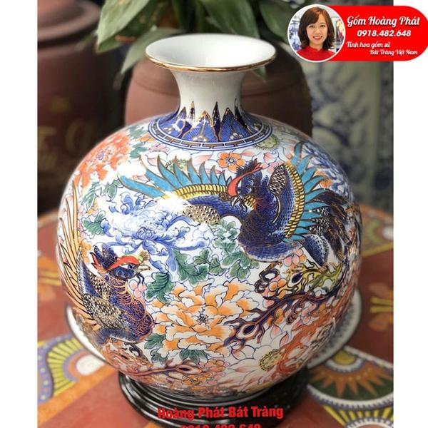 Bình hút tài lộc vẽ Phượng Hoàng liên hoa vẽ vàng 24k SP5034