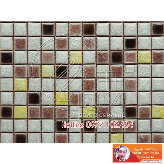 Gạch Mosaic màu trộn trắng, nâu, socola