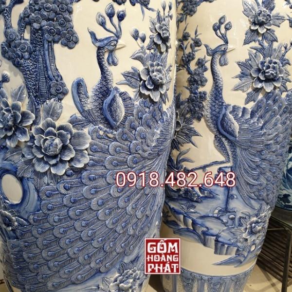 Lục bình Công nổi màu lam Bát Tràng cao cấp 854
