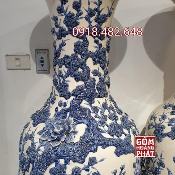 Lục bình Công nổi màu lam Bát Tràng cao cấp 13531