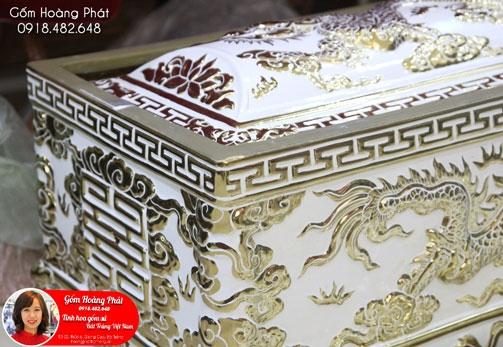 Quách tiểu mạ vàng 24k men trắng - Hàng cao cấp QTVK18 1