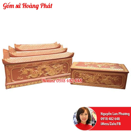 Tiểu quách gốm vẽ nhũ vàng mái chùa 34632