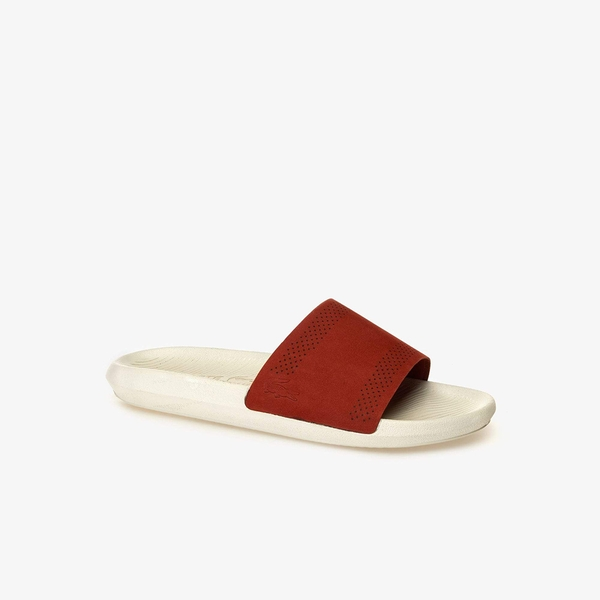 Dép Lacoste Croco Leather Slides (Đỏ đun)