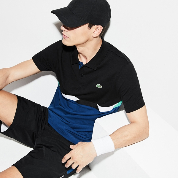 Áo Lacoste SPORT Colourblock Ultra-Light Cotton Polo (Đen-Xanh)