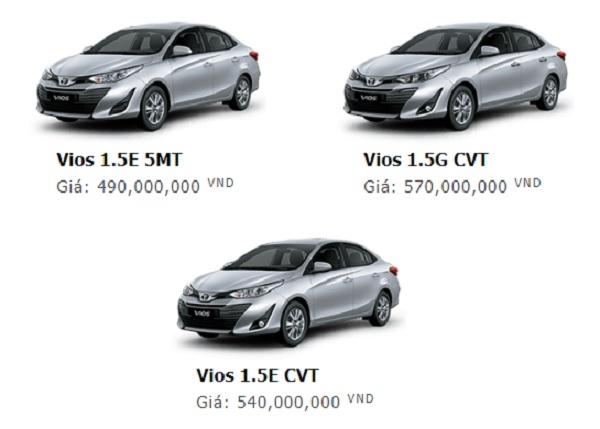Giá xe Toyota Vios 2019