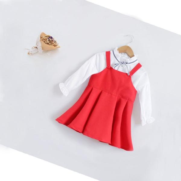 Bộ đầm 2 món, áo phối cổ bèo dây kiểu, chất cotton, mềm mịn thấm mồ hôi tốt, size 3-10T/ ri8