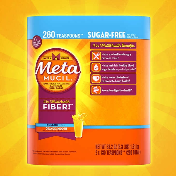 Bột hòa tan bổ sung chất xơ Metamucil Fiber Supplement, Orange Sugar Free, 260 Servings