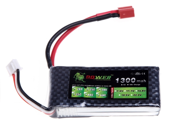 Pin lipo 2S 7.4V 1300mAh 25C Lion Power