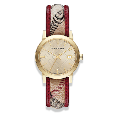 Burberry BU9137 Piping Check Leather Ladies Watch