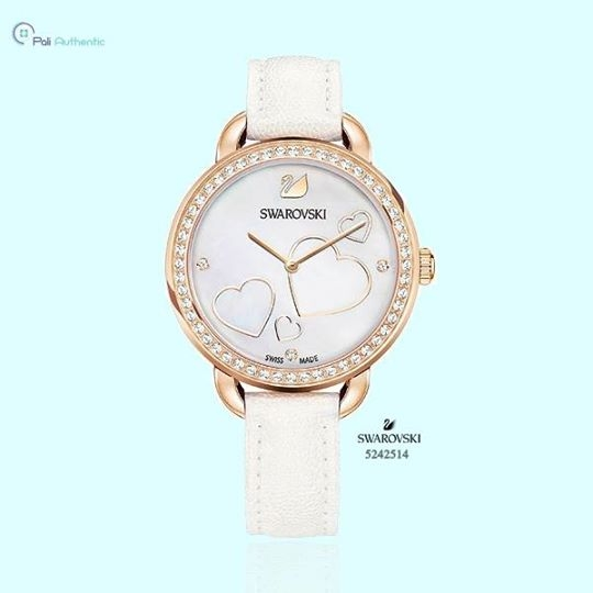 Swarovski Aila Day Heart Mother of Pearl White Leather Watch