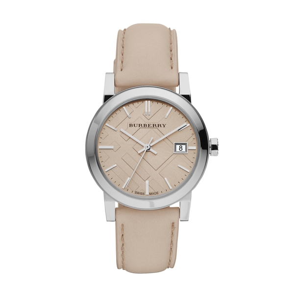 Burberry Women's Large Check Tan Leather Strap Watch