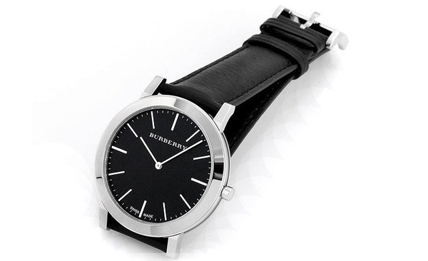 Đồng Hồ Burberry Men's BU2351  Slim Black Dial Black Leather Strap Quartz Watch