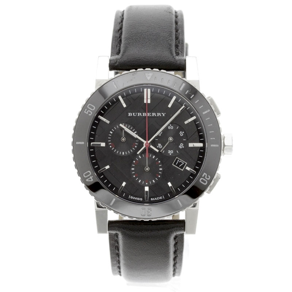 Đồng Hồ Burberry BU9382 Black Dial Chronograph Black Leather Mens Watch