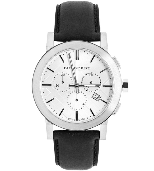 Đồng Hồ Burberry Men's BU9355 Swiss Chronograph Black Leather Strap 42mm