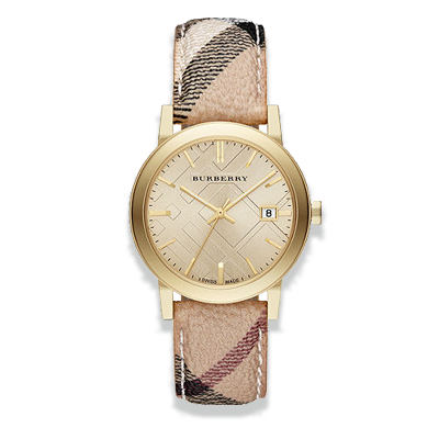 Đồng Hồ Burberry BU9026 The City Champagne Dial Haymarket Check Strap Unisex Watch