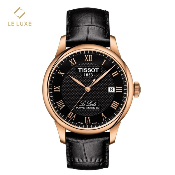 Tissot Le Locle Powermatic 80 Black Rose Gold Leather