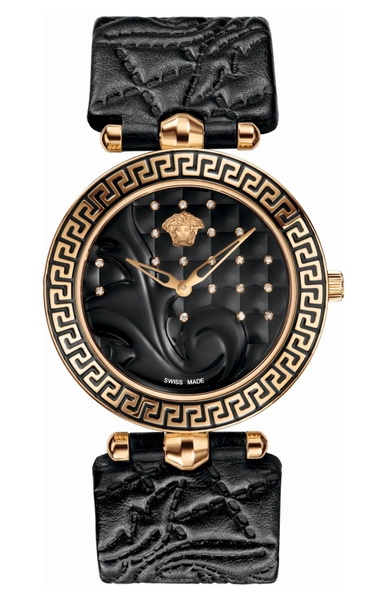 Đồng hồ VERSACE VK7070013 VANITAS BLACK DIAL LADIES LEATHER WATCH