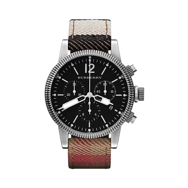 Đồng Hồ Burberry Men's BU7815 Utilitarian Swiss House Check Leather Strap Black Dial Chronograph Watch