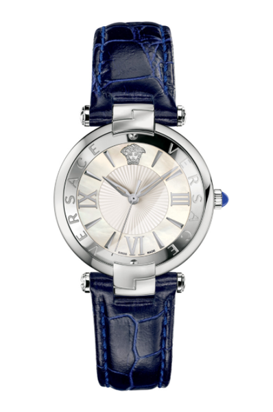 Đồng Hồ Versace VAI010016 Revive Mop Dial Shiny Blue Leather Strap Watch
