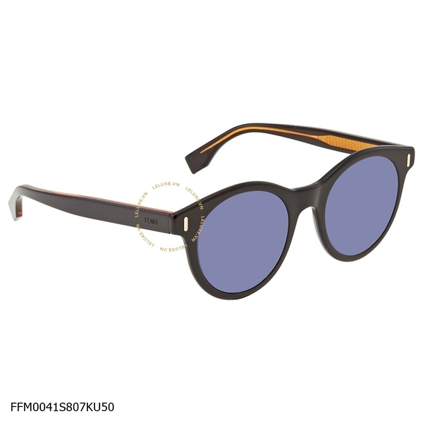 Fendi Blue Round Men's Sunglasses FFM0041S807KU50