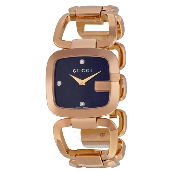 Đồng Hồ Gucci YA125409 G Black Diamond Dial Rose Gold-tone Ladies Watch