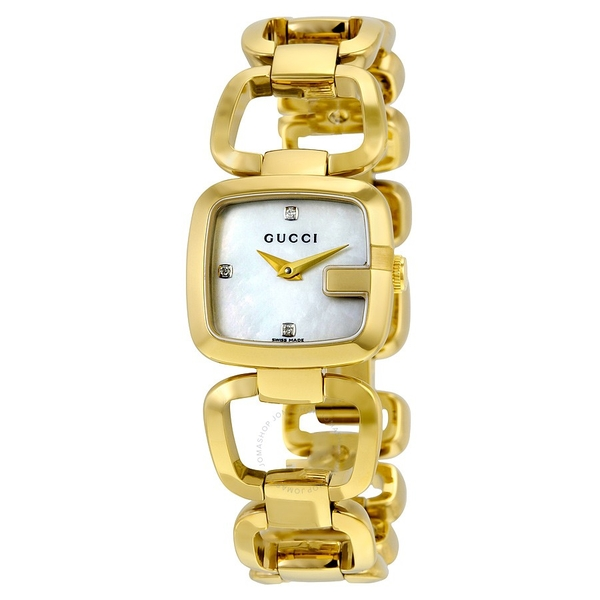 Đồng Hồ Gucci YA125513 G- Mother of Pearl Diamond Dial Gold Tone Ladies Watch
