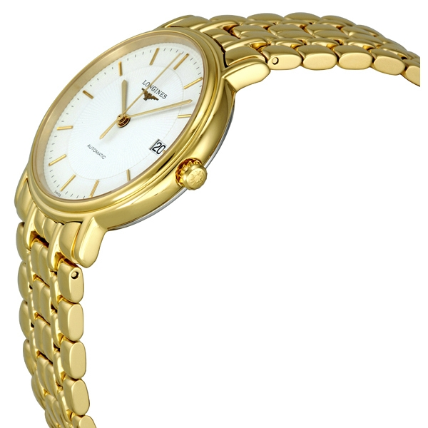 Longines L48212188 White Dial Automatic Gold PVD Stainless Steel Bracelet Mens Watch