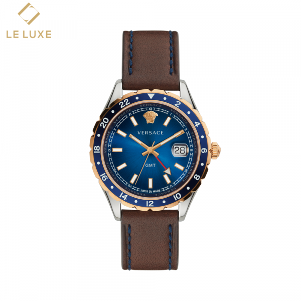 ĐỒNG HỒ VERSACE V11080017 HELLENYIUM BLUE DIAL MEN'S LEATHER WATCH