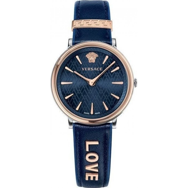 Đồng Hồ VERSACE VBP090017 VERSACE V-CIRCLE BLUE LEATHER STRAP