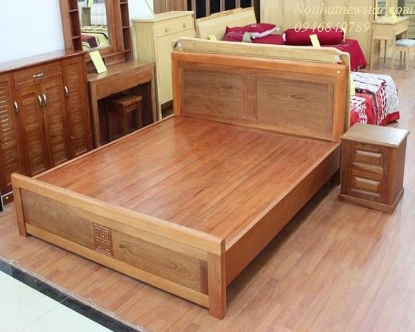 Giường đôi gỗ xoan đào bền đẹp NST07