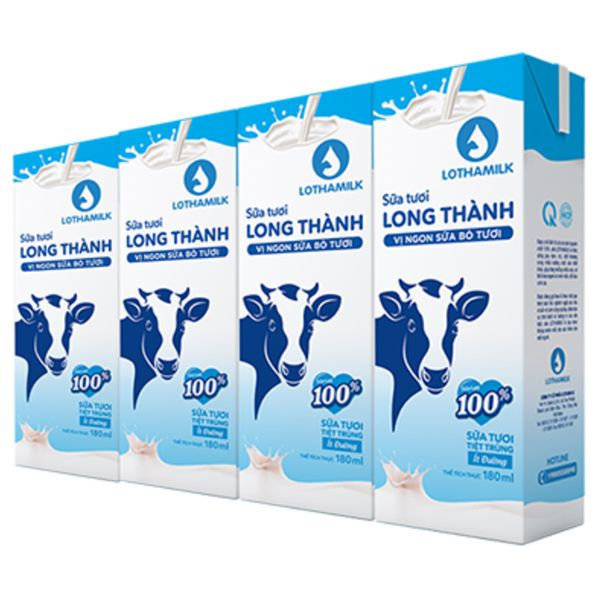 Sua tuoi tiet trung it duong long thanh lothamilk loc 4 hopx180ml
