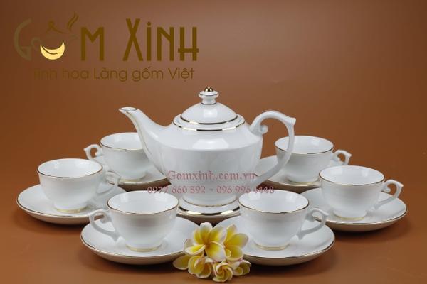 Bộ ấm trà Bát Tràng đẹp