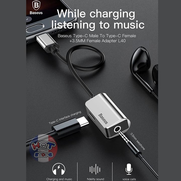 Cáp chia cổng sạc tai nghe 2in1 Baseus L40 Type-C Audio Adapter