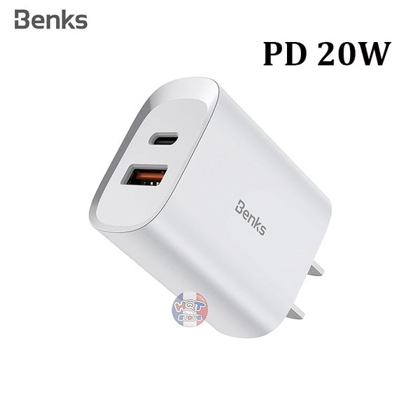 Củ sạc nhanh PD 20W Benks Dual Port Fast Charge cho iPhone 12 Series