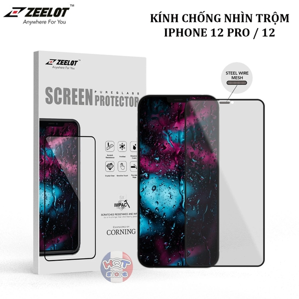 Kính chống nhìn trộm ZEELOT 2.5D Steel Wire Privacy IPhone 12 Pro / 12