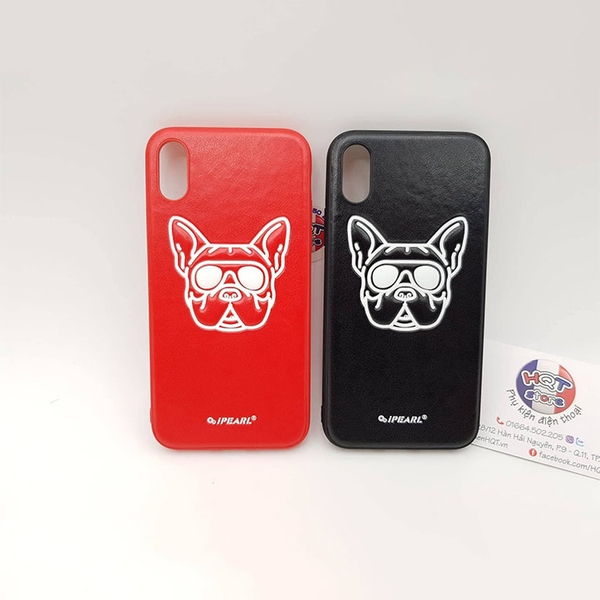 Ốp lưng da iPearl Luminous Bull Dog cho IPhone X