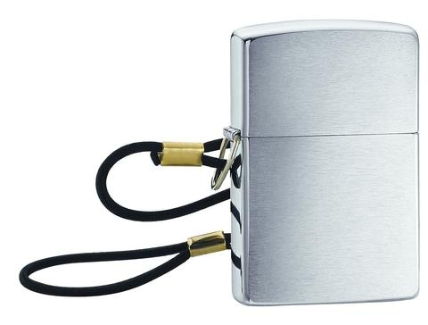 Zippo Lossproof with Loop & Lanyard Brushed Chrome