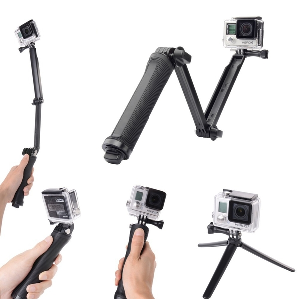Tripod Stand Grip 3-way for action camera - Gậy 3 khúc
