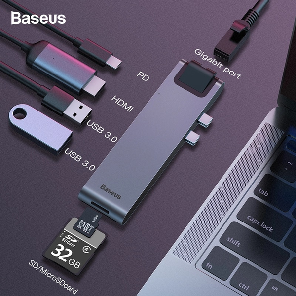 Hub chuyển Baseus Thunderbolt C Pro 7 in 1 Smart Hub cho Macbook Pro 2016/ 2017/ 2018 (Type C to C PD, 2x USB 3.0, HDMI 4K - 60Hz, SD/Micro SD Card Reader, LAN RJ-45 Expansion Smart Dock)
