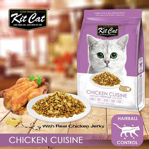 Kit Cat Chicken Cuisine (Hairball Control) Dry Cat Food - Thức ăn cho mèo 1,2kg