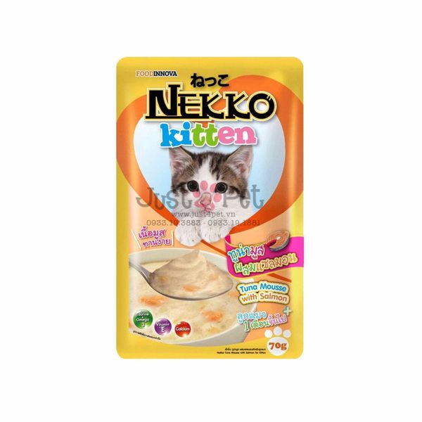 Nekko Kitten Tuna Mousse with Salmon 70g cho mèo