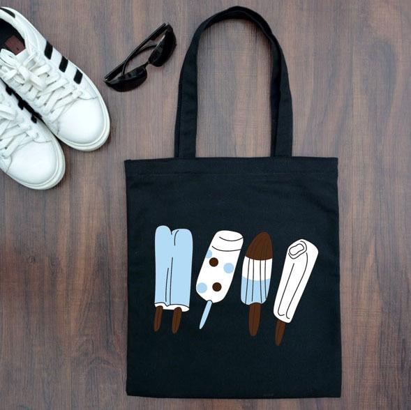 một trong những chiếc túi vải tote dễ thương với hình cây kem túi tote bag tại hà nội