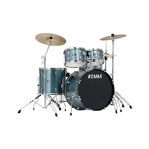 TAMA SG52KH6C-CSV Stagestar 5-Piece Drum Kit w/ Hardware+Throne+Cymbals, Charcoal Silver