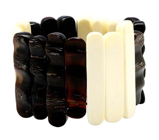 Black horn & bone bangle bracelet